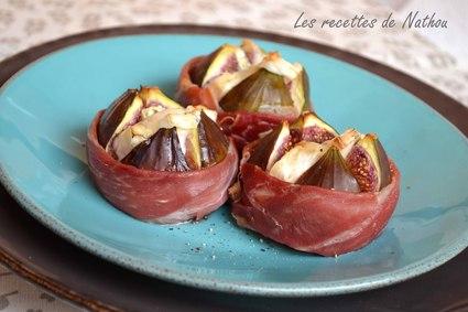 Recette de figues rôties au chèvre et jambon cru