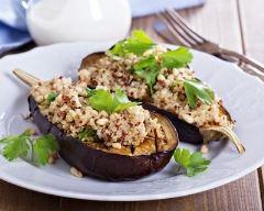 Recette aubergines farcies au quinoa