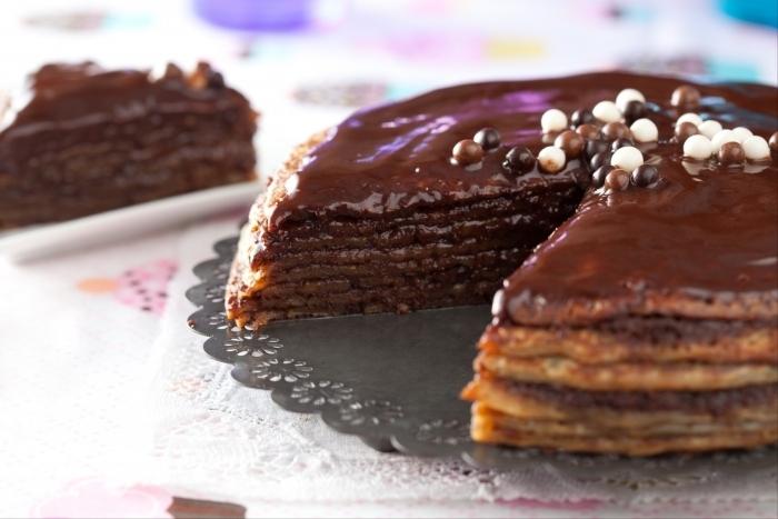 Recette de gâteau de crêpes au chocolat facile et rapide
