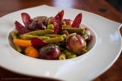 Recette de salade de haricots verts, raisin, magrets de canard fumé ...