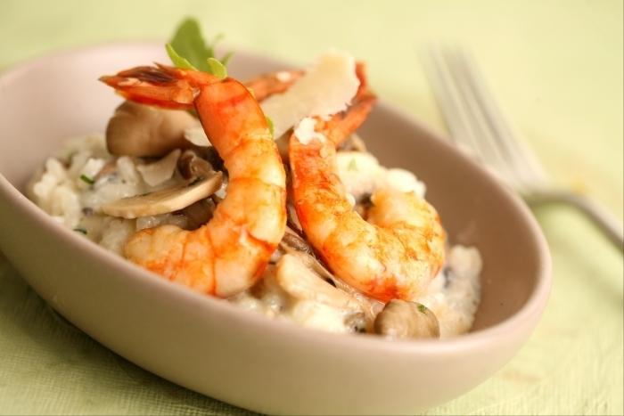 Recette de risotto de gambas et champignons facile et rapide