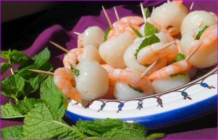 Recette amuse-bouches litchi-crevette