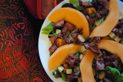 Recette de salade de gésiers, cantal et melon