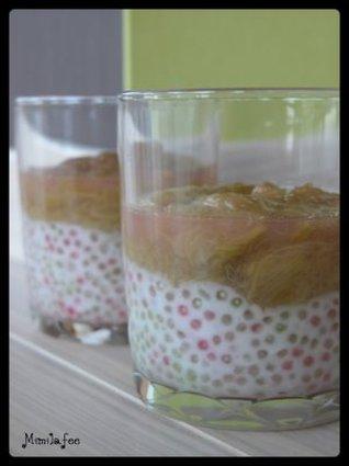 Recette de verrines perlées au coco sous un lit de rhubarbe