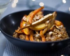 Recette petit épeautre façon risotto et légumes rôtis au cumin