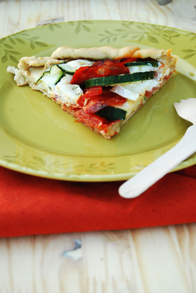 Recette de tarte rustique tomate, courgette, chèvre & chorizo