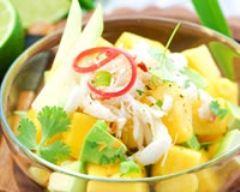 Recette salade sucrée salée mangue crabe