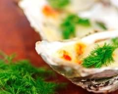 Recette huîtres gratinées au sabayon de champagne