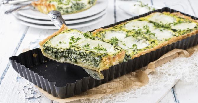 Recette de tarte allégée aux épinards et à la mozzarella
