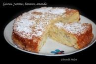 Recett de gâteau familial pommes, bananes, amandes