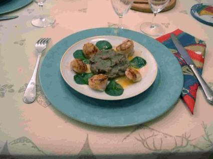 Recette de saint-jacques au caviar d'aubergine