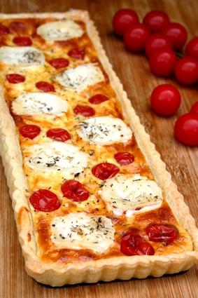 Recette de tarte au fromage de chèvre et tomates cerises