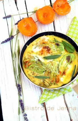 Recette omelette aux fleurs de courgette et brochette de demi-abricots