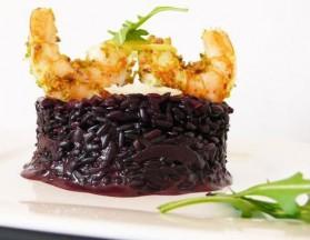 Risotto vénéré aux crevettes panées à la pistache pour 2 personnes ...