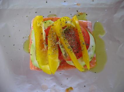 Recette de saumon à la provençale en papillote