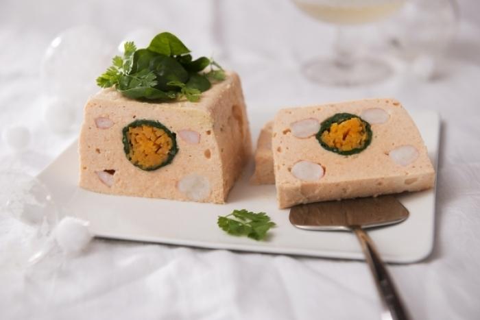Recette de terrine de saumon et gambas aux petits légumes