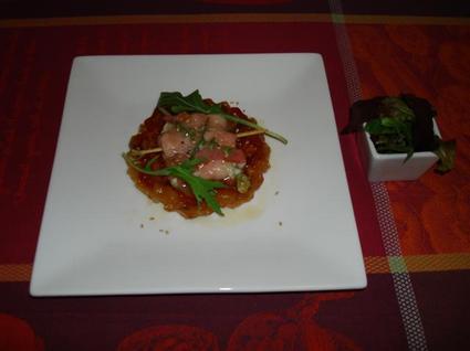 Tatin de tomates au caramel de balsamique, coulant de ...