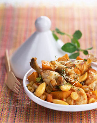Recette de tajine de poulet aux raisins et patates douces