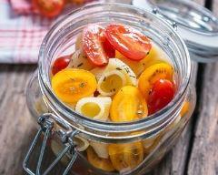 Recette pâtes aux tomates cerises et basilic en bocal