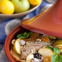 Tajine de confit de canard aux pommes et dattes