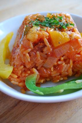 Recette de riz au chorizo , poivrons et ananas