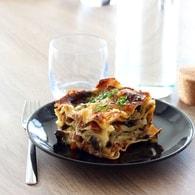 Lasagnes de courgettes, champignons et jambon