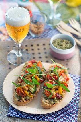 Recette de tartines de légumes grillés et caviar d'aubergines