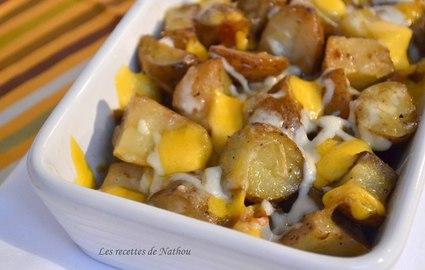 Recette pommes de terre grenailles rôties à la mozzarella et cheddar