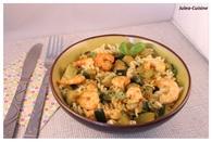 Recette de pâtes aux courgettes, crevettes et épices