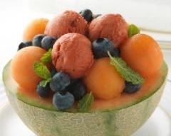 Recette coupe melon, sorbet à la fraise