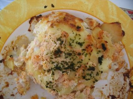 Recette de gratin de pommes de terre aux deux saumons