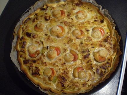 Recette de tarte aux poireaux et noix de saint jacques