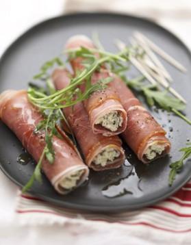 Roulés de jambon de bayonne au fromage de brebis et aux herbes ...