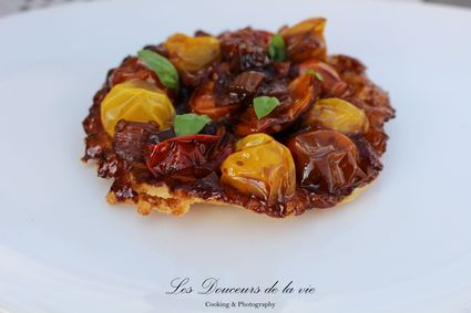 Recette de tarte tatin de tomates et oignons roscoff