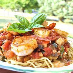 Recette pâtes linguine aux crevettes et aux tomates – toutes les ...