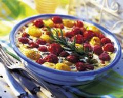 Recette clafoutis aux tomates cerises et aux mirabelles