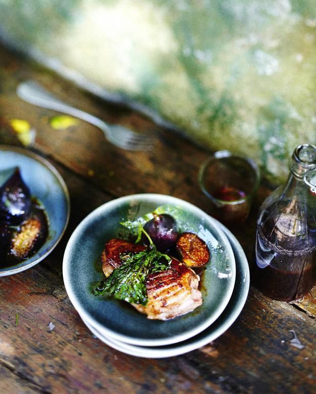 Magrets caramélisés aux figues et crème de cassis pour 6 ...