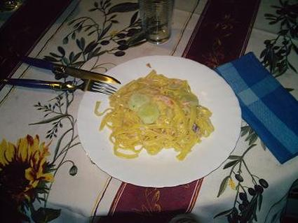 Recette de spaghettis au concombre et saumon fumé