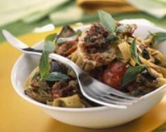 Recette tagliatelles au poulet et aux légumes du soleil