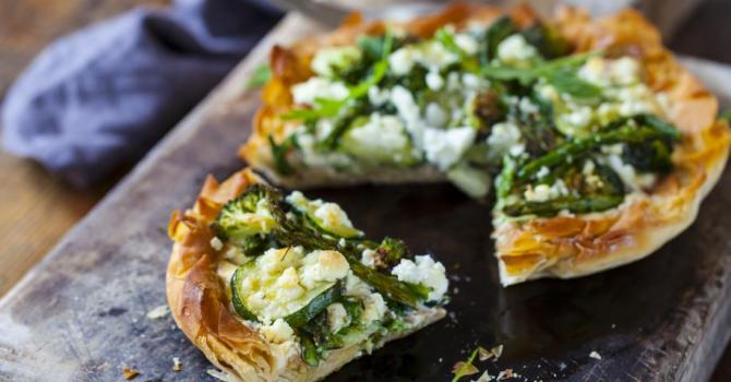 Recette de tarte légère de légumes verts à la feta