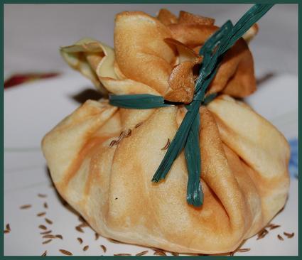 Recette aumônières de pommes au munster et au cumin
