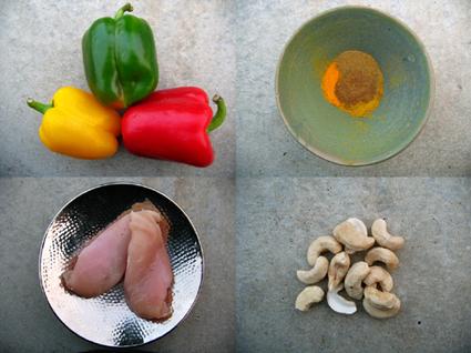 Recette de poulet aux épices, poivrons et noix de cajou