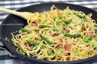 Recette de poêlée de spaghettis au lardons, petits pois et asperges ...