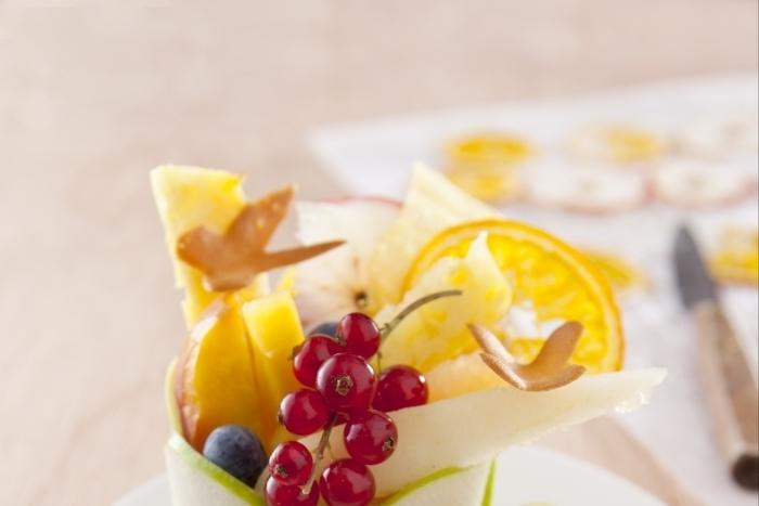 Recette de salade de fruits frais et séchés, papillons amande facile