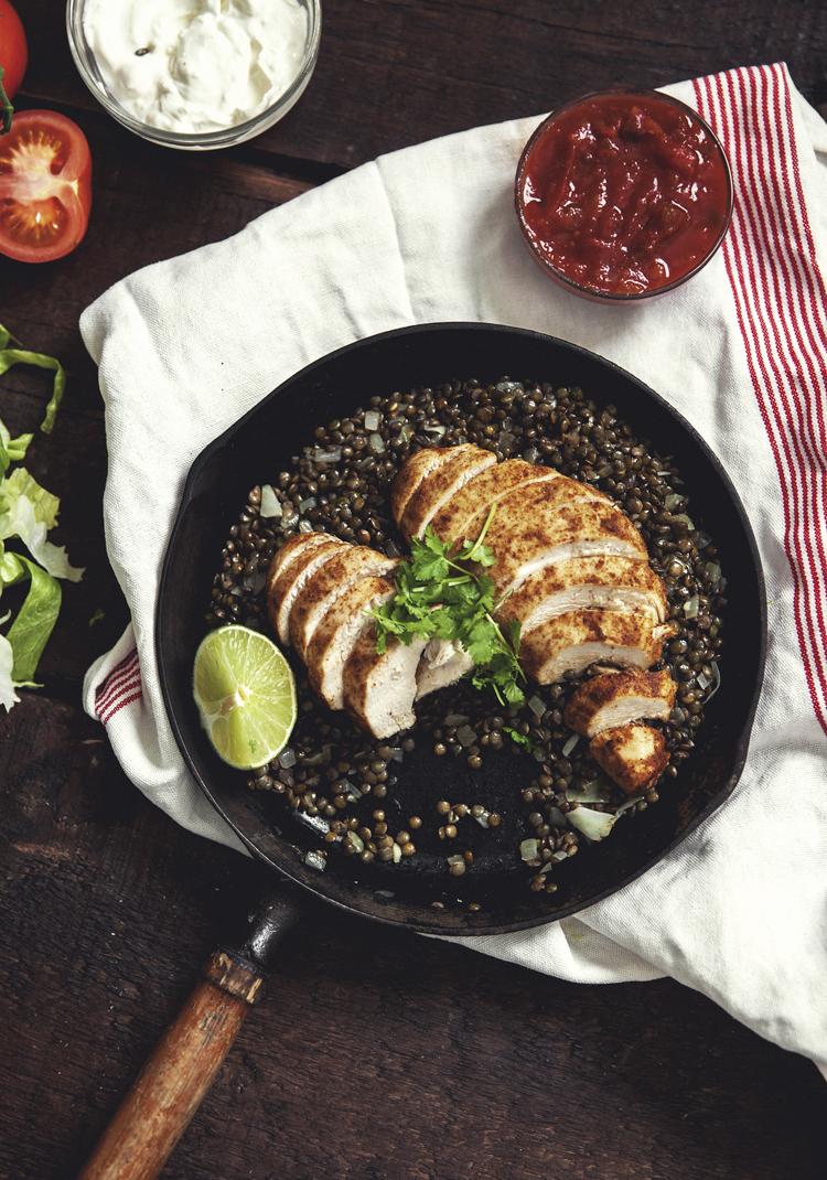 Poulet & lentilles à la mexicaine