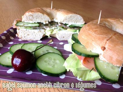 Recette de bagel saumon aneth citron & légumes