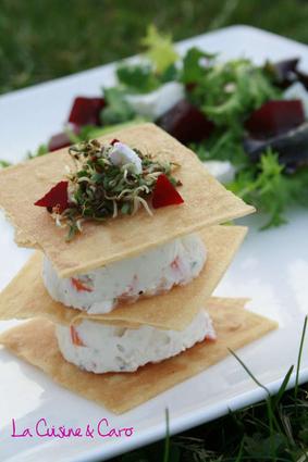 Recette de millefeuille surimi façon cheesecake, petite salade