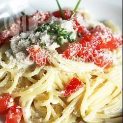Recette spaghettis à la crème, champignons et tomate fraîche ...