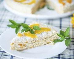 Recette gâteau de crêpes aux pêches, chantilly et noix de coco ...