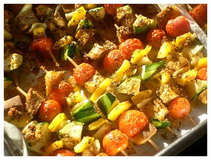 Recette de brochettes de légumes du soleil